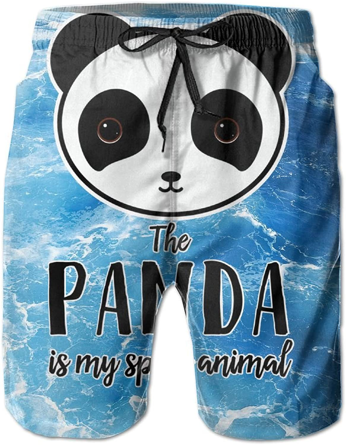 AKSKXMNNPanda is My Spirit Animal Mens Swim Trunks Quick Dry Surf Board Shorts Beach Pant Sportswear