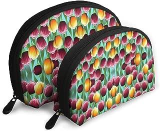 DHSJWIEU23 Field of Tulips Portable Bags Clutch Pouch Storage Bag Coin Purse Travel Bag Handbag Women's Bag One Big One Small Cosmetic Bag