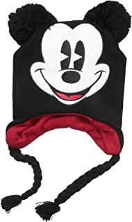 Unisex Adult Mickey Mouse Acrylic Knit Winter Laplander Hat with Jumbo Knit Pom Ears and Knit Tassels