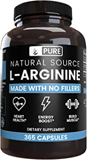 100% Pure L-Arginine | 90-Day Supply |365 Capsules |No Magnesium or Rice Filler, Nitrous Oxide Booster, Made in USA, Gluten-Free, Vegetarian, 800mg Extra Potent & All-Natural L-Arginine