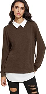 Women's Classic Collar Long Sleeve Curved Hem Pullover Sweatshirt
