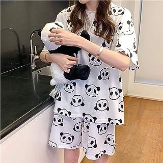 KJKJ Pijamas con Estampado de Panda Lindo, Pijamas de algodón para Mujer, Pijamas de camisón para Mujer, Pijamas Cortos para Mujer, Conjunto de Ropa de Dormir, Conjunto XL Panda