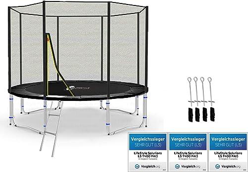LS-T305-PA10 (SAD) LifeStyle ProAktiv Garten- Trampolin 305 cm - 10ft - Extra Starkes Sicherheitsnetz - Neu