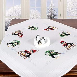 Stickpackung Pinguine, komplettes vorgezeichnetes Kreuzstich Tischdecken Set, Winter Stickset mit Stickvorlage für Erwachsene, Sticken zur Adventszeit und Weihnachten