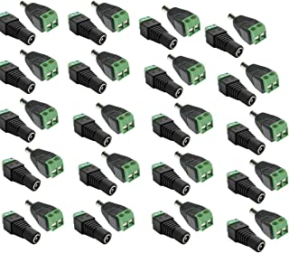 Winterise 20 Pairs 12V Male+Female 2.1x5.5MM DC Power Jack Plug Adapter Connector for CCTV Camera/LED Strip Light