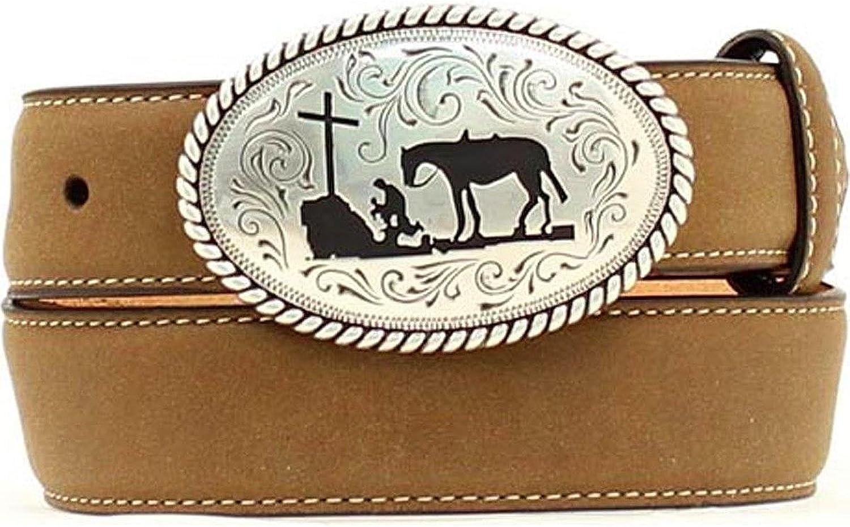 Nocona Boy's Cowboy Prayer Buckle Belt, Medium Brown Distressed, 24