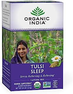 Organic India Tulsi Sleep Herbal Tea - Stress Relieving & Relaxing, Immune Support, Balances Sleep Cycles, Vegan, USDA Cer...