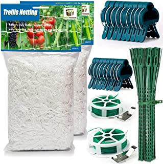 34 Pcs Trellis Netting SET for Indoor Outdoor Garden Climbing Plants 2 Flexible Twine Nets 5x30 ft 2 Cutters with 164 ft T...