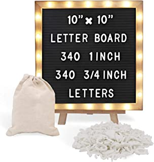 Black Felt Letter Board with Stand, Built-in LED Lights (10 x 10) - Menu Board, Wood Frame, 340 Letters and Emojis - for C...