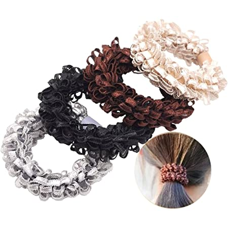 5Pcs Wome Organza Hair Ring Ties Rope Elastic Hairbands Robber Ponytail Holder