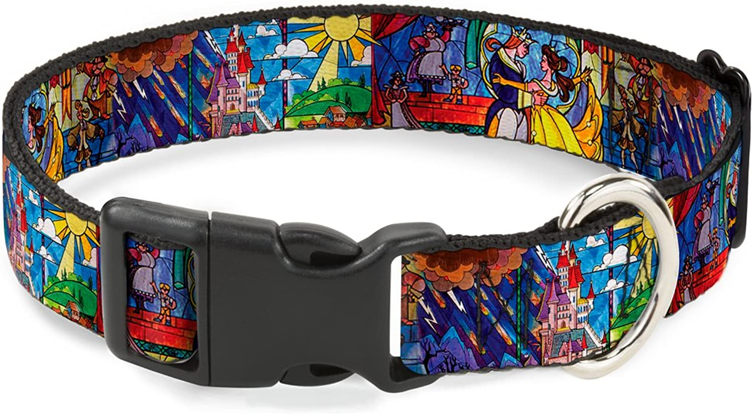 BuckleDown Beauty & The Beast Stained Glass Scenes Plastic Clip Collar, Narrow Large 915