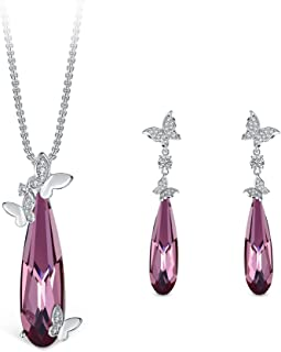 T400 Blue Black Butterfly Swarovski Crystal Cubic Pendant Necklace and Drop Earrings Jewelry Set Birthday Gift for Women