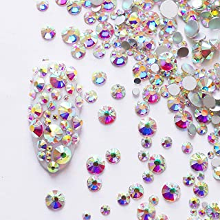 2592pcs Flatback Crystal Irridescent AB Rhinestones Round Beads Gem Pearls for 3D Nail Art DIY Crafts Clothes Shoes Phone Case Decoration; Mixed Sizes 1.3-4.8mm; SS3-20; 9 Sizes/288pcs Each Size