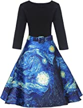 LunaJany Women's Starry Night Oil Painting V Neck Fit and Flare Party Swing Dress