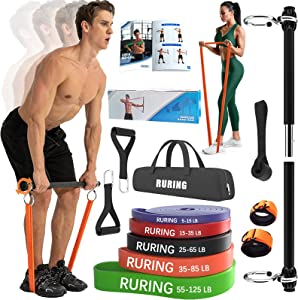 Resistance Bands Bar Set Portable Home Gym Equipment for Adults Strength Training for Chest Press Deadlift Squats Curl Full Body Workout Bands Pilates Bar Kit for Fitness Exercise(5 Resistance Bands)