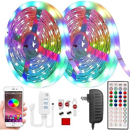 Karrong LED Streifen 10m, Bluetooth RGB Farbwechsel Dimmbar Timing LED Light Strip, LED Band LED-Leiste mit IR Fernbedienung APP Control für Haus Wohnzimmer Schlafzimmer Küche Beleuchtung Party Deko