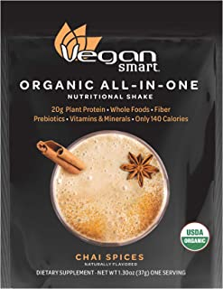 Vegansmart Organic Plant Based Protein Powder by Naturade, All-In-One Shake – Chai Spices, Single Serving
