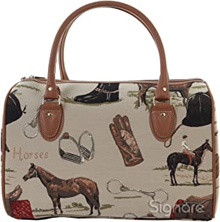 Signare Tapestry Women Tan Canvas Travel Duffel Weekender Bag Hand Luggage Overnight Bag with in Horse Design (TRAV-HOR)