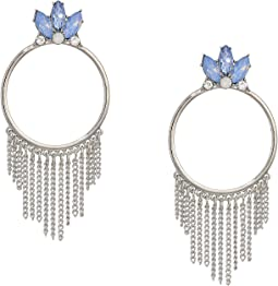 Stone Doorknocker Style with Chain Fringe Earrings