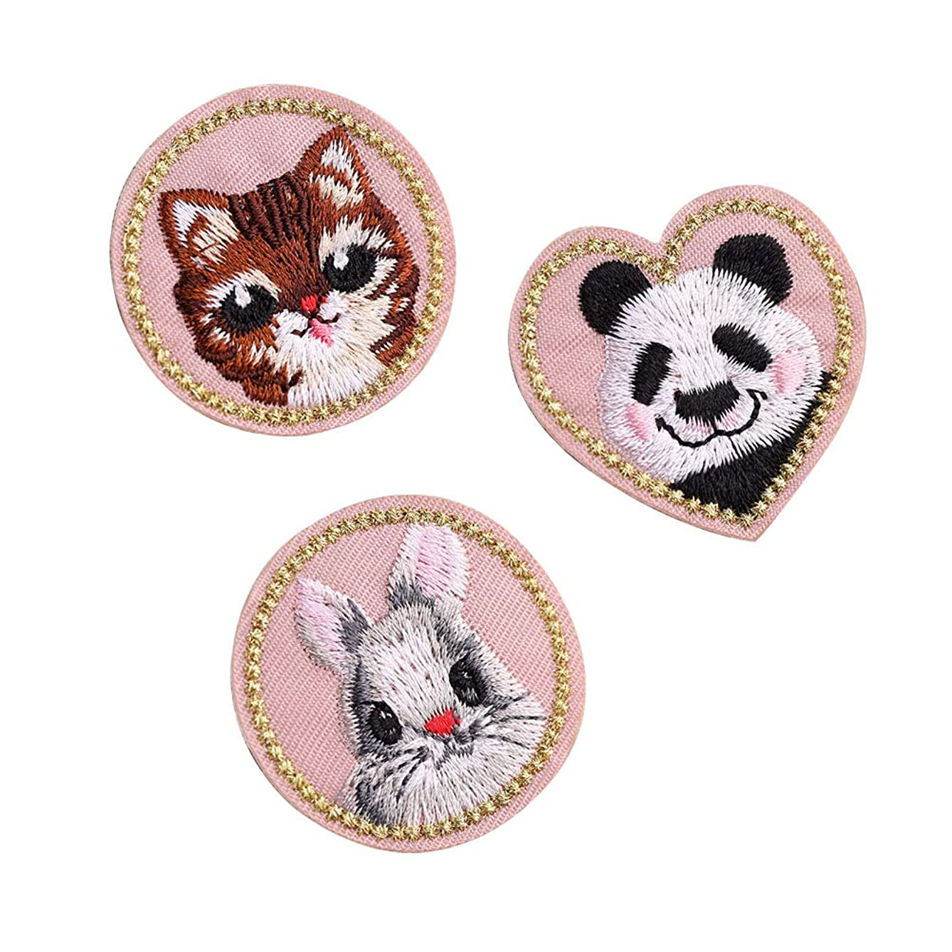 SOUTHYU 3Pcs Iron On Patches for Clothing Repair, Cute Rabbit Cat Panda Patch Embroidered Applique Sew On Emblem for Jackets, Jeans, Costume, Backpacks, Hat, T-Shirts