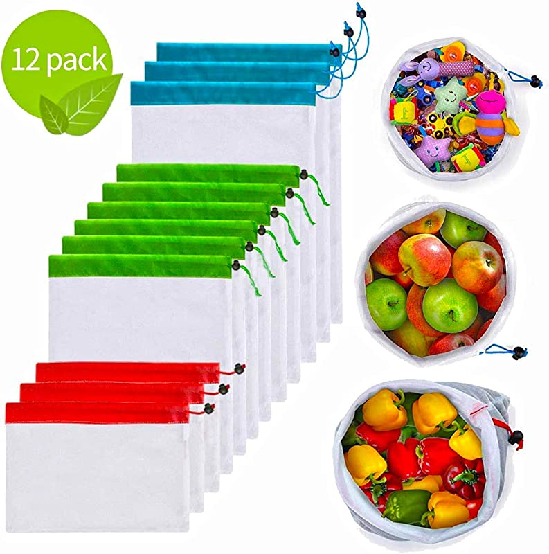 12Pcs Reusable Mesh Produce Bags Washable Premium Through Lightweight Mesh Bags Eco Friendly Toy Fruit Vegetable Produce Bags With Drawstrings For Home Shopping Grocery Storage 3 Various Sizes
