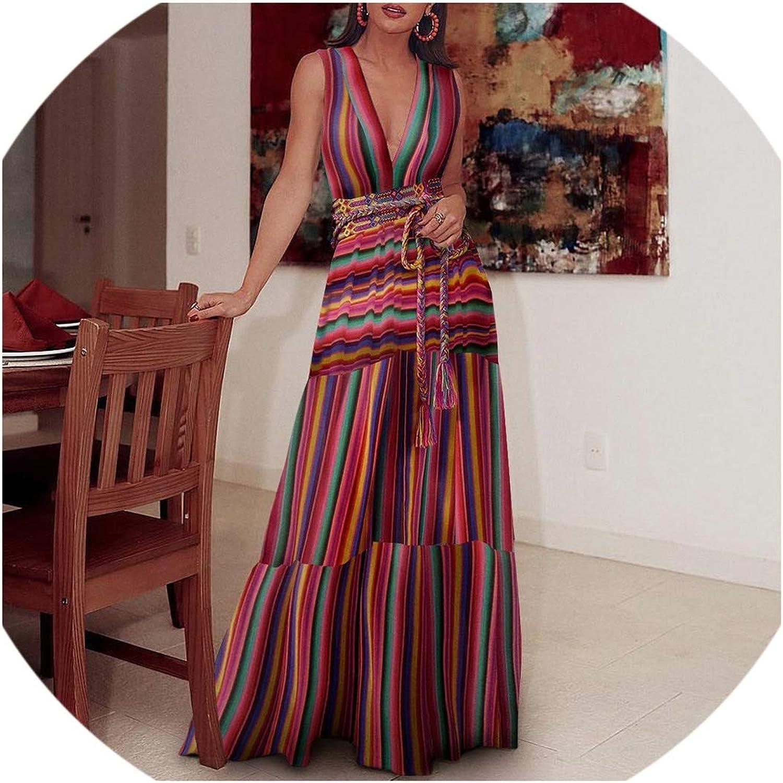 Boho Dress Summer Women Belt colorful Maxi Beach Dress Ladies V Neck Tunic Cotton Long Dresses