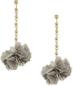 French Connection Pom Pom Linear Earrings