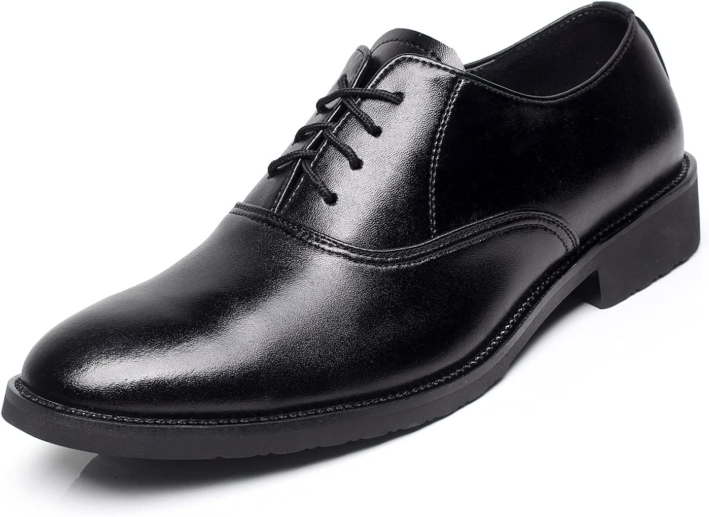 Pointedd Classic Dress Shoes for Men Lace up Derby Shoes Classic Slip Resistant Light Weight Prom (Color : Black, Size : 45EU)