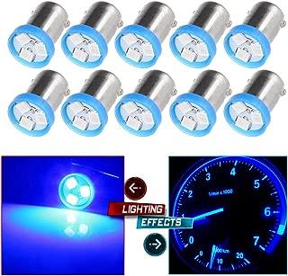 cciyu 10X 57 1815 Super Brightness Blue 2835 3-SMD Car LED BA9S Instrument Gauge light Replacement fit for Instrument panel Glove box License plate Boat cabin lamp