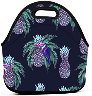 Insulated Lunch Tote Bags For Women,Waterproof Reusable Cute Handbag Lunchbox Outdoor Lunch Boxes For Kids,Adults,Girls And Men Work School Travel(Oucans And Pineapples On Dark Background)