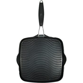 """Starfrit 030036-006-SPEC 10"""" Grill Pan with Foldable Handle, Black, 10"""" x 10"""""""