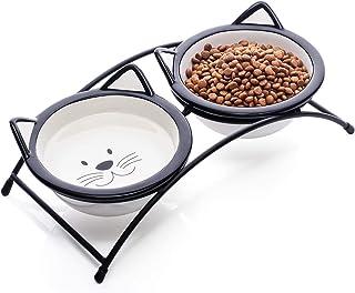 سرامیک Y YHY گلدان های حیوان خانگی گربه ، 12 اونس مواد غذایی با ظرف بالا و آب ، ظروف دو گربه ، هدیه برای گربه