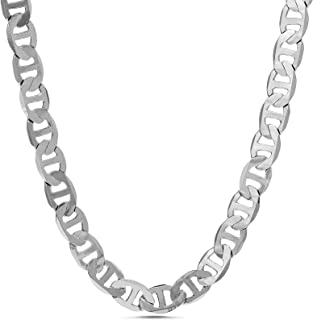 Nautica 1mm -2.5mm Anchor Chain Necklace for Men or Women in Rhodium Plated Brass