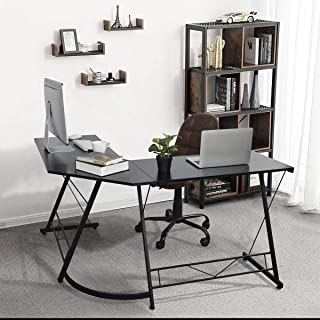 CozyCasa Computer Desk, L Shaped Gaming Desk Corner Table Home Office PC Desk, with Metal Legs