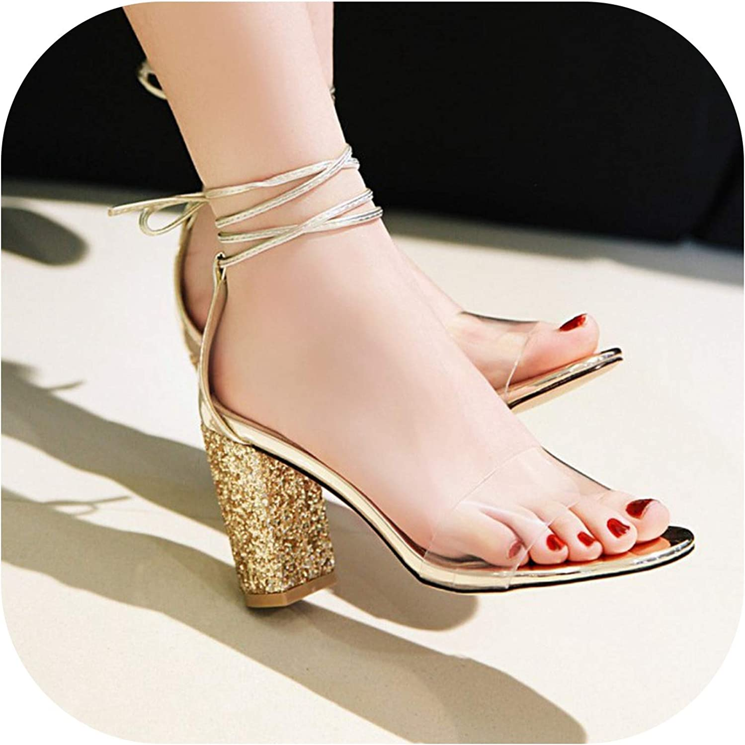 Summer The New Women's Sandals Thick Heel High Heels Open Toe Bling Frenulum Simple Sandals