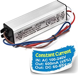 Chanzon LED Driver 600mA (Constant Current Output) 60V-85V (Input 100-240V AC-DC) (18-25) x3W 54W 60W 75W IP67 Waterproof Power Supply 600 mA Lighting Transformer for High Power COB Chips (Aluminium)