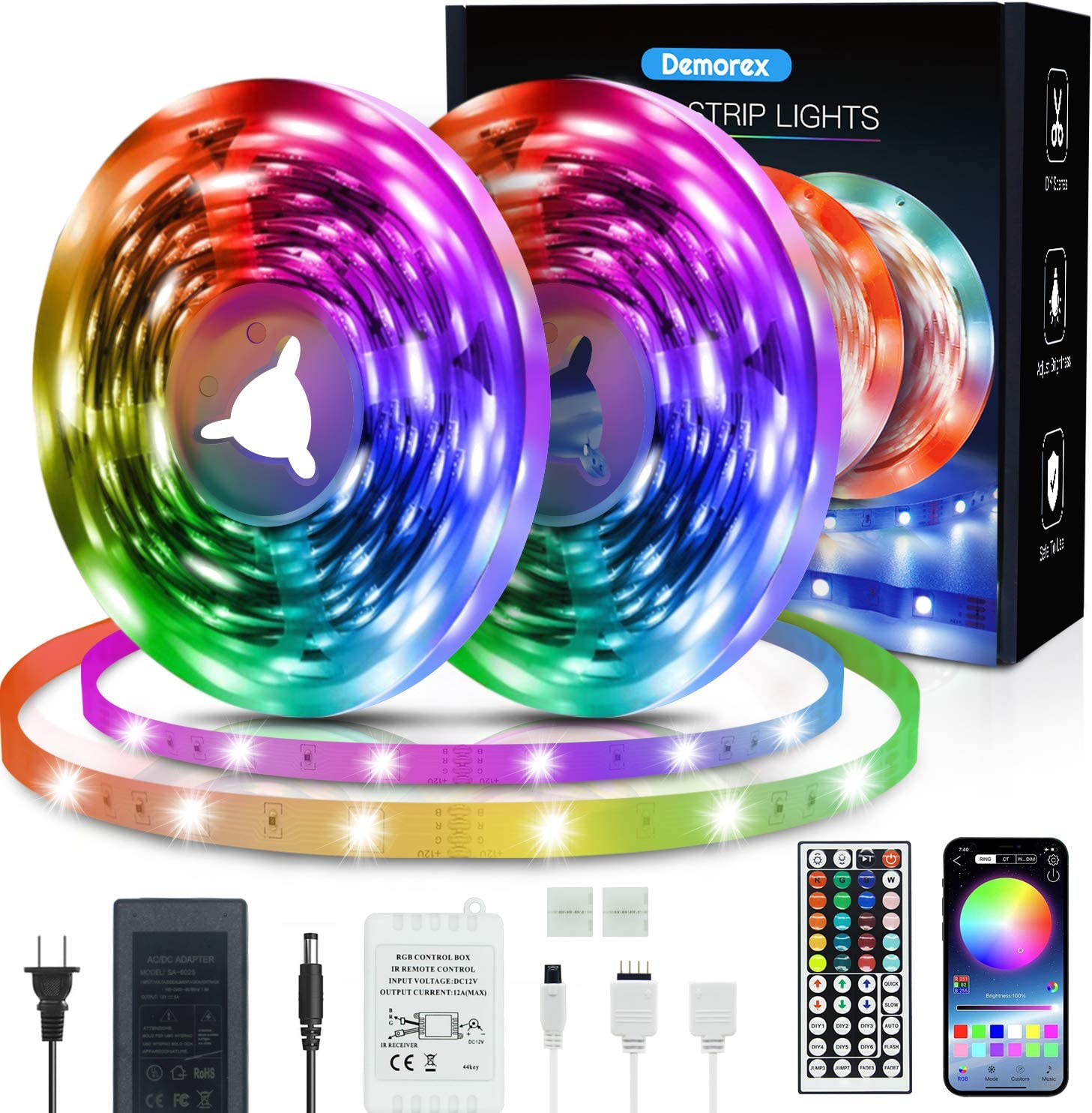 50ft Led excellence Strip Lights Sync Music Color Demorex safety