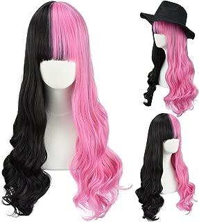 half pink half black wig