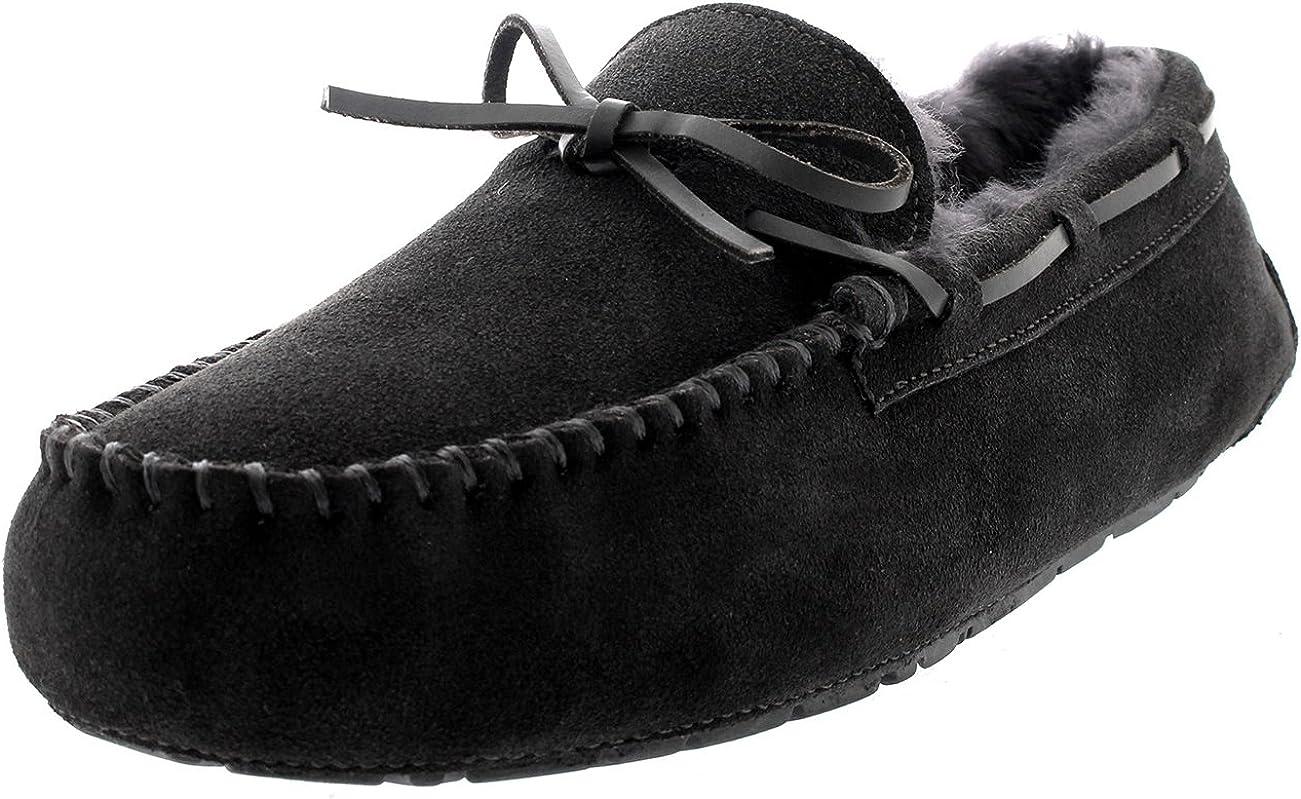 Hommes Moccasin R/éal Peau De Mouton Australien Authentique Fourrure Fl/âneur Pantoufle