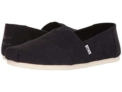 TOMS Seasonal Classics (Black Perforated Synthetic Suede) Men