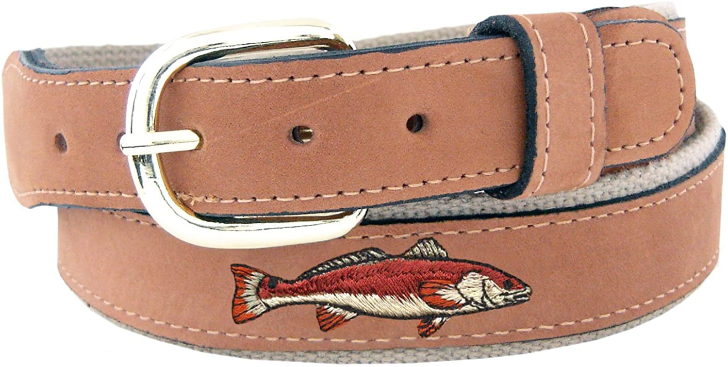 ZEP-PRO Men's Tan Leather Embroidered Redfish Belt