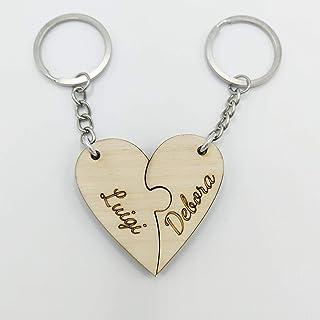 Portachiavi cuore Puzzle in legno Regalo San Valentino e Anniversario per coppia regalino romantico e indimenticabile per ...