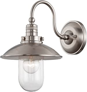 Minka Lavery 71162-84 Downtown Edison Urban Industrial Outdoor Glass Wall Light Wall Sconce Lighting, 1 Light, 60 Watt, Nickel