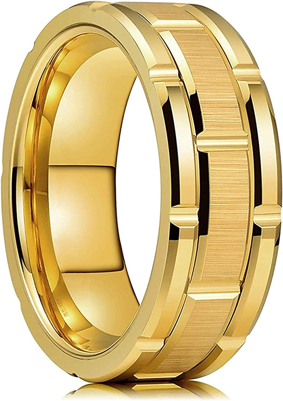 Modern 8MM Tungsten Steel Men Ring Gold Do Color Mail order Fashion Brushed unisex
