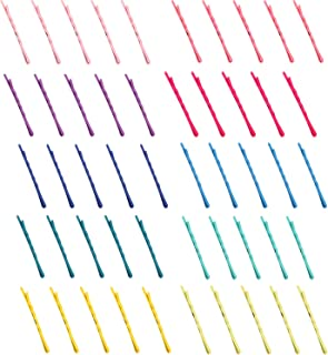 Folora 50pcs Women Girls Fashion Rainbow Color Metal Hair Pins Sweet Bobby Pins Snap Barrettes, 2-inch