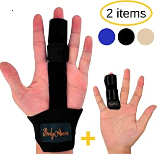 BodyMoves Finger Splint and Finger Extension Splint Trigger Finger Mallet Finger Broken Finger Post Operative Care Finger Knuckle immobilization Injury (Midnight Black)