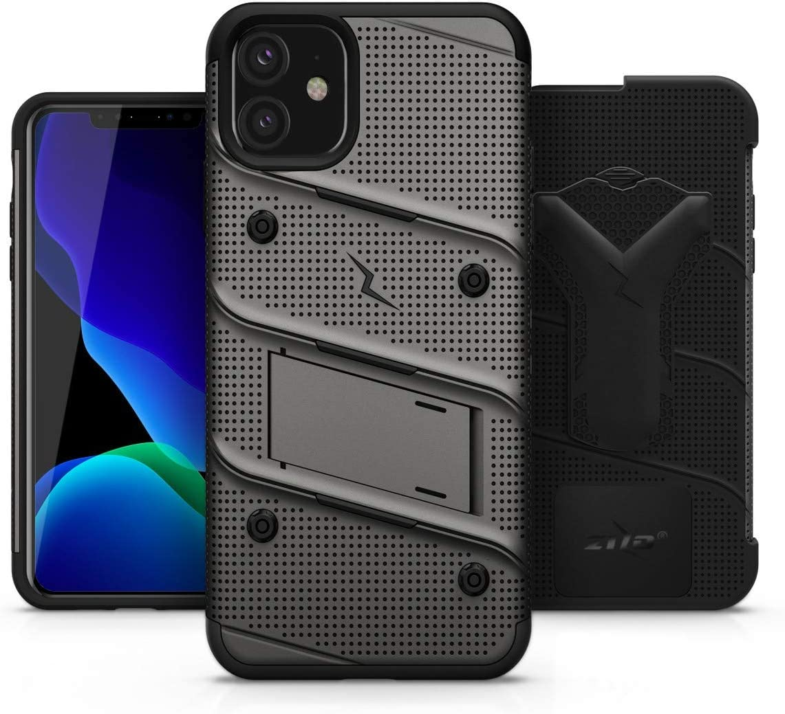 Zizo Bolt Cover - Case for iPhone 11 with Military Grade + Glass Screen Protector & Kickstand and Holster (Metal Gray/Black)