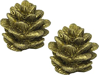 Urbanest Set of 2 Pinecone Lamp Finial, 1 3/4-inch Tall, Antique Gold