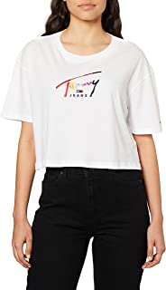 Tommy Jeans Cropped Tommy Womens Short Sleeve T-Shirt Medium Classic White