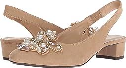 Beige Suede/White Pearls